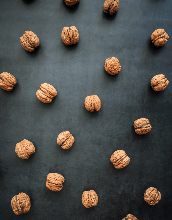 Scattered walnuts on the floor