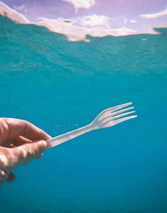 A plastic fork under ocean waters