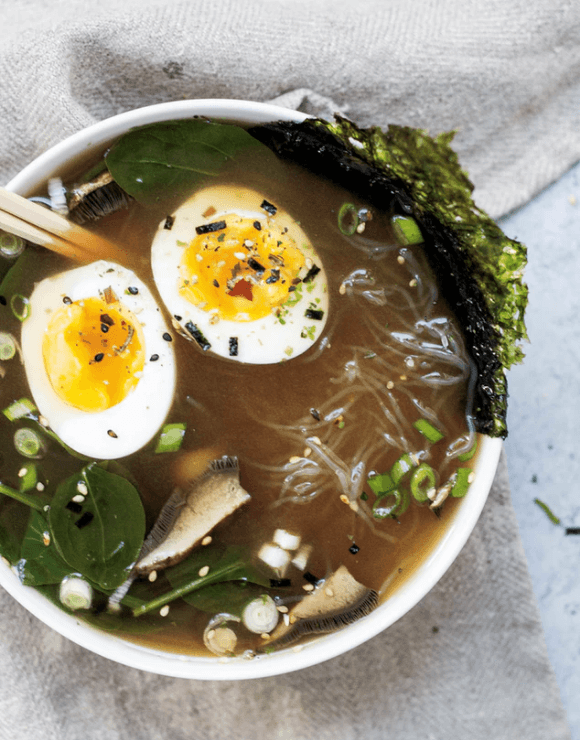 An exotic vegetable soup with egg and spices