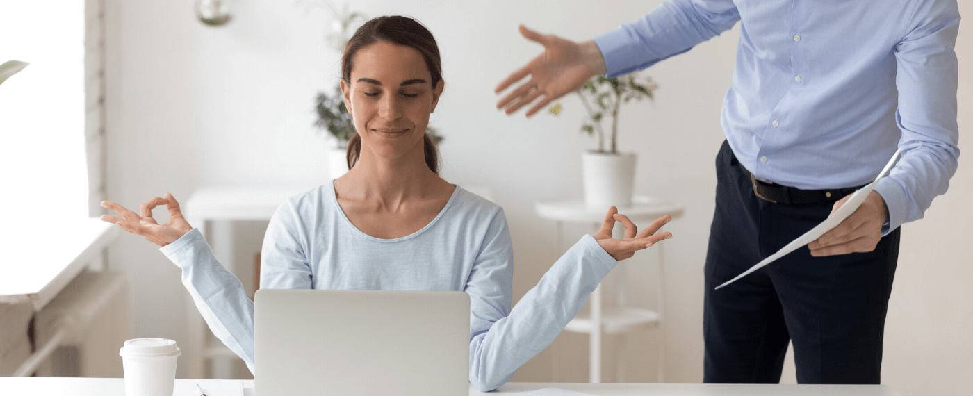 Woman practicing rage yoga and meditating while husband yells about bills