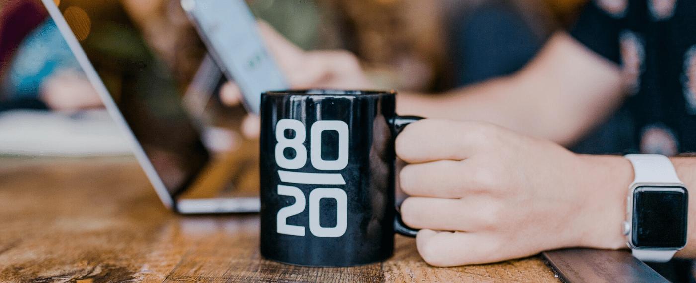 An 80 20 time management coffee mug