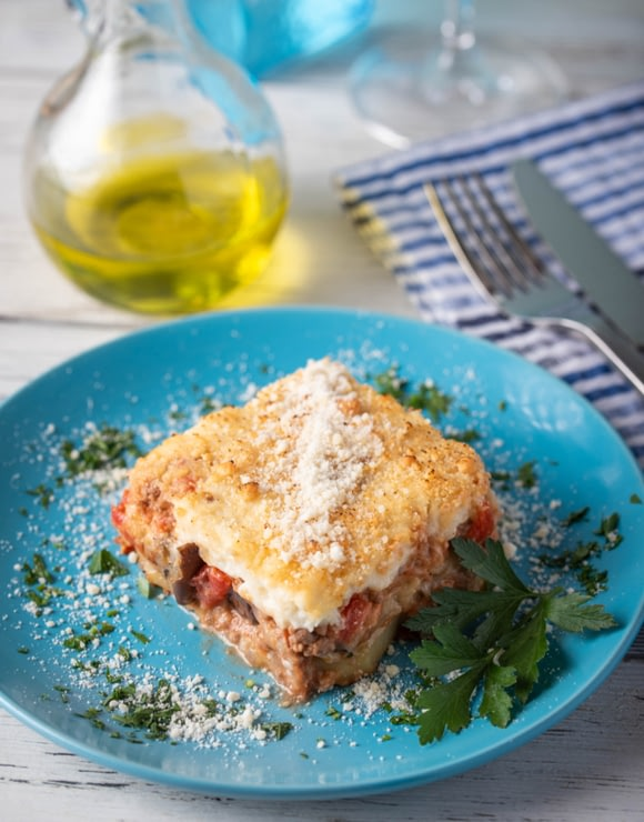 A plate of Greek Moussaka