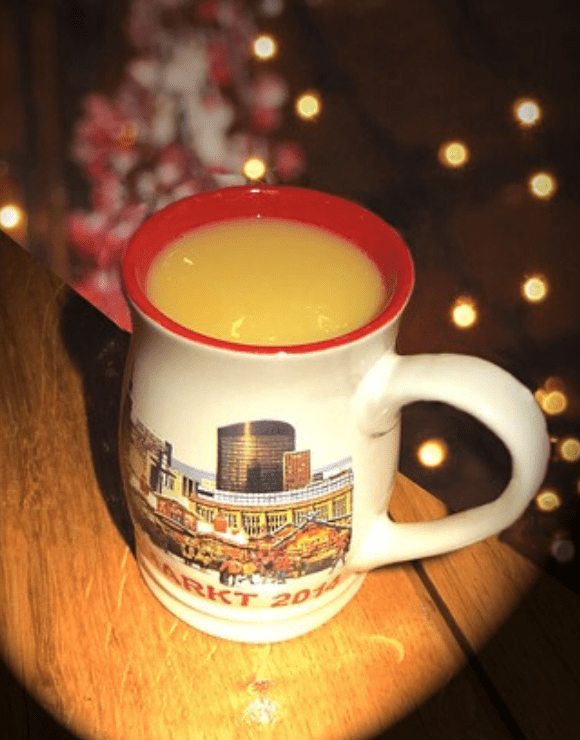 A large coffee mug filled with healthy holiday eggnog