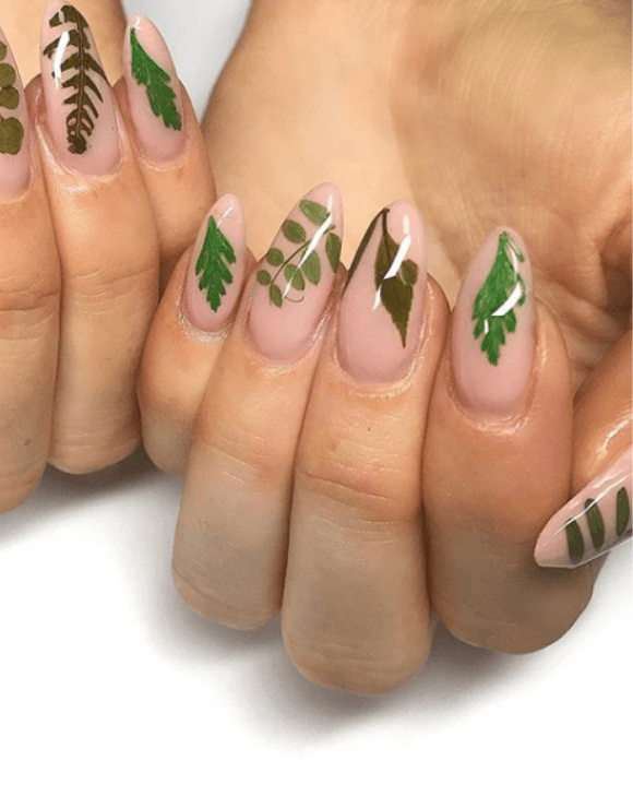 Delicate real-life leaf manicure nails