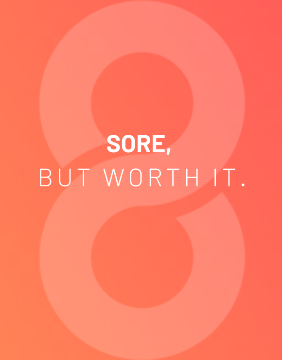 Inspirational quote for pushing past feeling sore after working out