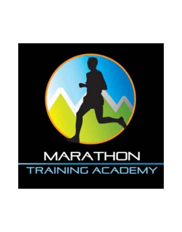 Marathon Training Academy logo featuring the shadow of a man running
