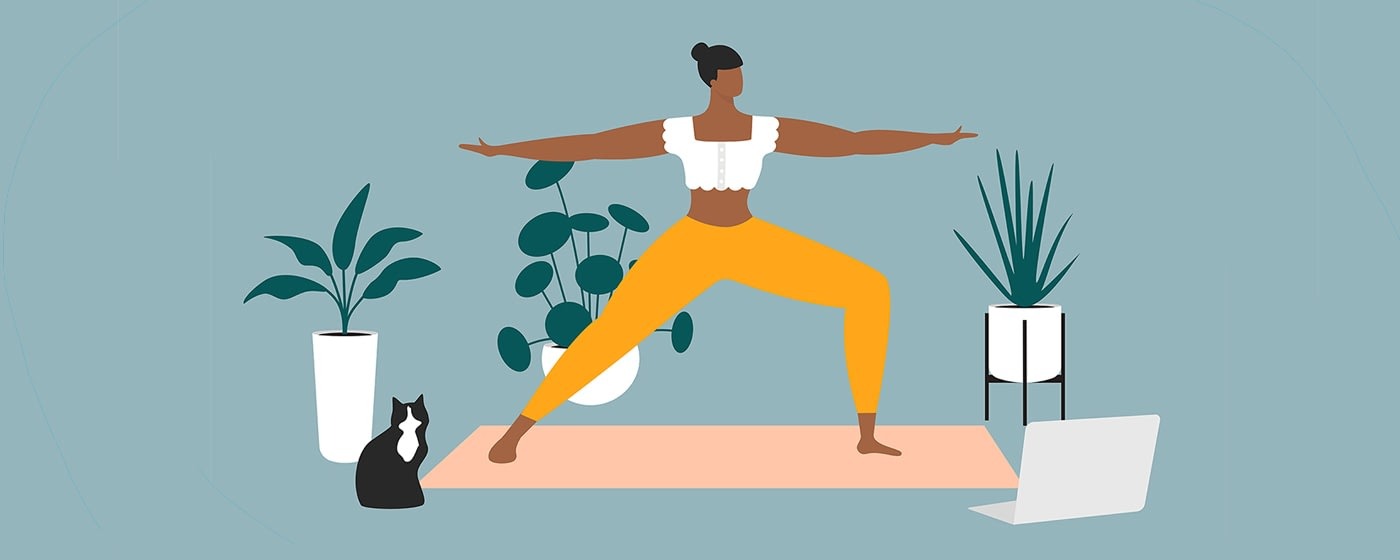 woman doing yoga illustration